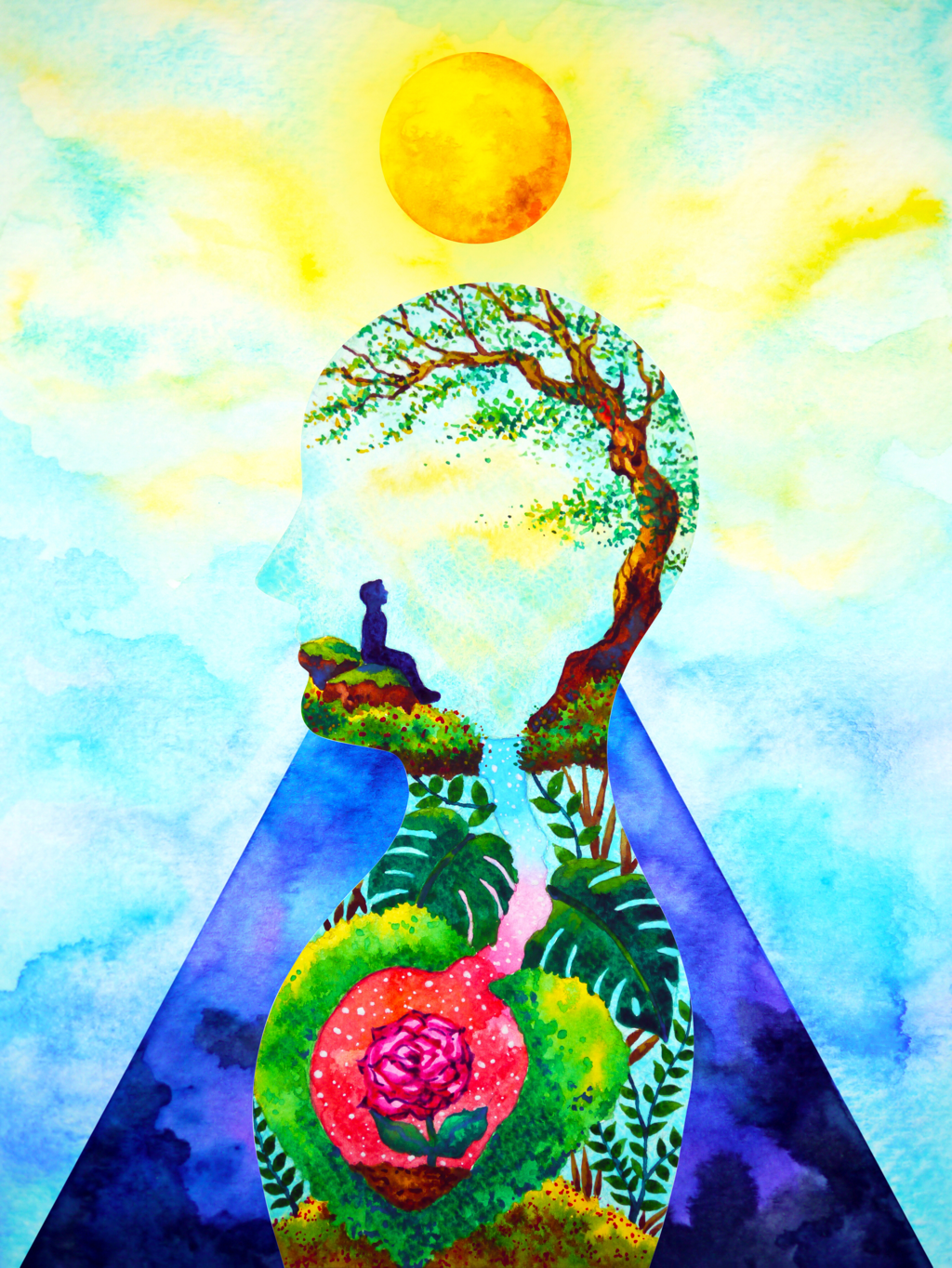 Artistic painting meditation under a tree, rose deep in heart of earth